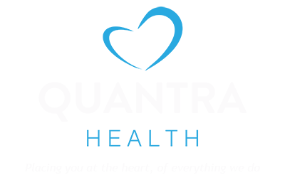 An image of the Quantra Health Logo with strapline